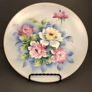 Vintage Lefton China Hand painted  Blue Florals Decorative Vanity Plate
