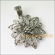 1 New Star Flower Tibetan Silver Bail Bead Fit Bracelet Chrams Connector 48x67mm
