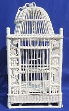 "Never Used Beautiful Large 38"" Vintage White Wicker Decorative Bird Cage #4291"