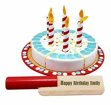 Personalised Toy Wooden Birthday Cake Food Set Baby Toddler Gift Birthday 1st