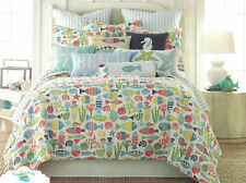 2-pc ☆ TROPICAL FISH ☆ Twin Quilt St. Anton Beach House Seashells VERY COLORFUL!