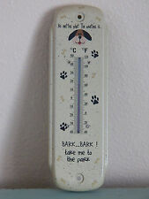 "Small Tin Metal Dog Lovers 8"" Thermometer ""Bark...Bark Take Me To The Park"""