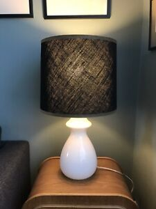 Vintage 70s Scandinavian Art Glass White Cased Glass Table Lamp & Canvas Shade