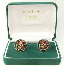 1964 Six pence cufflinks  real coins in Black & Colours