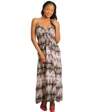 RT1 Green Red Multicolor Long MAXI DRESS Cocktail Beach Casual Summer Sexy S M L