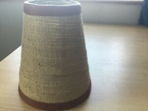 Two Hessian Light/Lamp Shades With Leather Look Trim