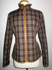 POST CARD Light Weight Quilted Full Zip Jacket-Leather Trim-Size 8-Italy