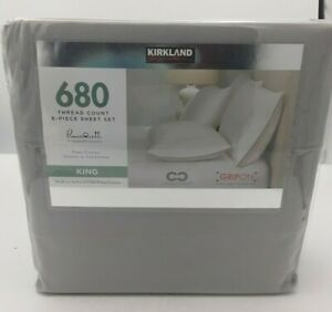 Kirkland Signature 680 Thread Count King Sheet Set Gray