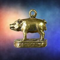 POR KAE OX BULL FACE Thai Brass Amulet Pendant Lucky Fortune Success Love Charm