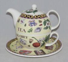 Roy Kirkham Bone China Tea for One Set Stacked Teapot Cup & Saucer TEA MOTIF