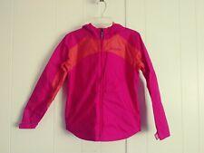 Columbia Medum 10/12 Front Zipper Pink Orange Lining Hooded Girl'S Windbreaker