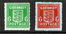 More details for guernsey stamps 1941-44 sg4-5  bluish french bank note paper  mounted mint