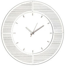 Large Contemporary SILVER Mirrored Sparkling Glitter Wall Clock - 50cm Dia