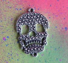3 Silver Sugar Skull Double Connector Motorcycle Pendant Charms Jewelry Making