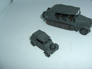 HO 1 87 SCALE ROCO MINITANKS VW STAFF CAR AND D6GM  HALF TRACK PERSONNEL CARRIER