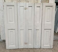 More details for pair of reclaimed victorian painted pine window shutters - 5 leaves- ref cs0057