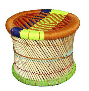 Pushkar Crafts Handmade Poufs/Footstool Made Bamboo Stick And Colorful Rope