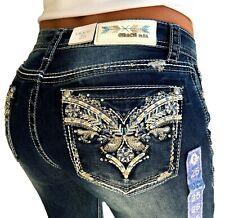 Grace In LA Mid Rise Tribal Easy Bootcut Jeans 25 26 27 28 29 30 31 32 33 34