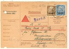 MANDAT AVEC RETOUR MULHOUSE 1 31/7/1941 ALSACE occupation allemande HINDENBURG