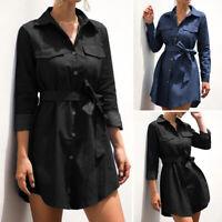 Mode Femme Chemise Robe Slim Loose Revers Manche Longue Ceinture Mini Jupe Plus