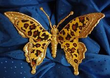 "Glitter Velour Leopard or Zebra Clip-On Butterfly-Wedding Floral Hair 7""T x 5"" W"