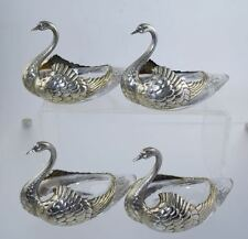 J.E. Caldwell FIGURAL STERLING SWAN MASTER SALT NUT DISHES SILVER/GLASS ANTIQUE