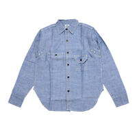 NON STOCK Vintage Chambray Shirts Blue Spring Men's Casual Denim Workshrits
