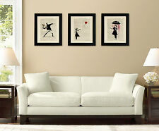 SET OF 3 FRAMED ART PRINTS ON OLD ANTIQUE BOOK PAGE - Banksy, Girl with Balloon