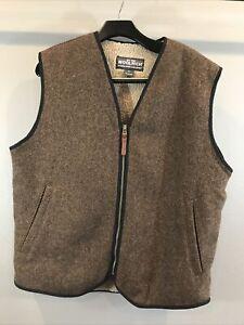 WOOLRICH Men's Wool Blend Sherpa Fleece Vest Full Zip Pockets Size L Brown