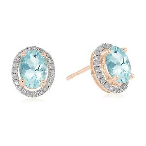10k Rose Gold Genuine Gemstone And Diamond Princess Diana Oval Halo Stud Earring