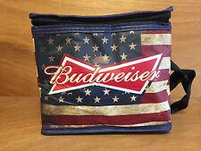"Budweiser American Flag Lunch Six Pack Cooler Bag - NEW & Free Ship 8"" x 7"" x 6"""