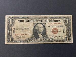 1935 A US $1 DOLLAR SILVER CERTIFICATE HAWAII.