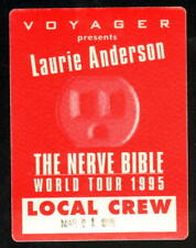 LAURIE ANDERSON 1995 THE NERVE BIBLE TOUR UNUSED BACKSTAGE PASS 3/1/95