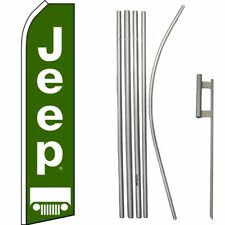 Jeep Green White Swooper Super Flag & 16ft Flagpole Kit / Ground Spike