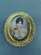 Vintage Portrait Painting 18k Gold  Diamond Detail Pendant Pin Italian Signed