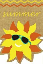 "Summer Sunface Burlap Garden Flag Seasonal Sunshine 12.5"" x 18"" Briarwood Lane"