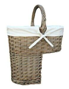 Antique Wash Finished Wicker Willow Stair Basket with White Cotton Lining