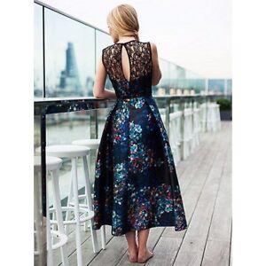 L K BENNETT Kensal Floral Print Eyelash Lace Cocktail Midi Party Dress 6 34 £365