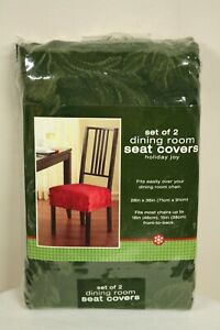 Bed Bath & Beyond Set of 2 Olive Green Dining Room Seat Covers Holiday Joy