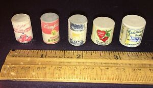 """5 Old Dollhouse Miniature Kitchen Wood Food Cans With Labels 3/4"""" Campbells Soup"""