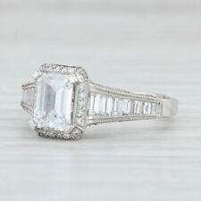 New Tacori Diamond Halo Engagement Ring Platinum Sz 6.5 Semi Mount Emerald 2531
