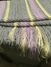 "Beautiful Handmade Crochet 35"" x 33"" Baby blanket multicolor striped Afghan"
