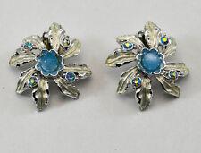 Vintage JUDY LEE Clip-on Earrings Flower Blue Rhinestone Simulated Cats Eye