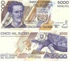 Billete De 5000 sucres ecuatorianos P128c 1999 ao serie Ecuador UNC