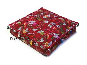 """16"""" Indian Square Floral Floor Kantha Cotton Cushion Covers Dog Beds Pillows US"""