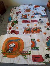 Vintage 1970's Peanuts Charlie Brown Snoopy Disco 3 pc. Twin Sheet Set Usa
