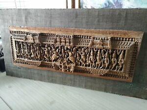 Fine Antique Indian Carved Figural Panel