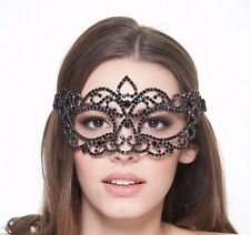 Black Crystal Venetian Metal Mask with Diamond Black Rhinestones