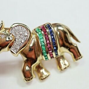 schöne Brillant Saphir Rubin Smaragd Elefantenbrosche 585 Gold, = 10,5 g
