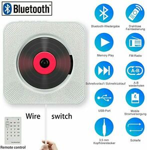 Portable CD Player Bluetooth Wall-Mounted Home Audio Boombox with Remote Control